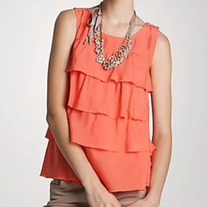 J Crew Coral Tiered Button Accent Cami Tank Top
